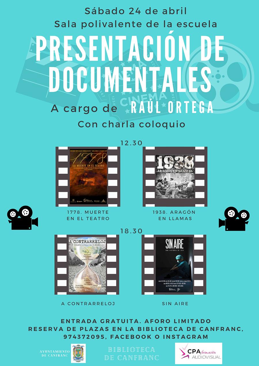 Proyección de documentales y posterior charla coloquio a cargo de Raúl Ortega, colaborador en la Recreación de la Inauguración de la Estación Internacional de Canfranc.