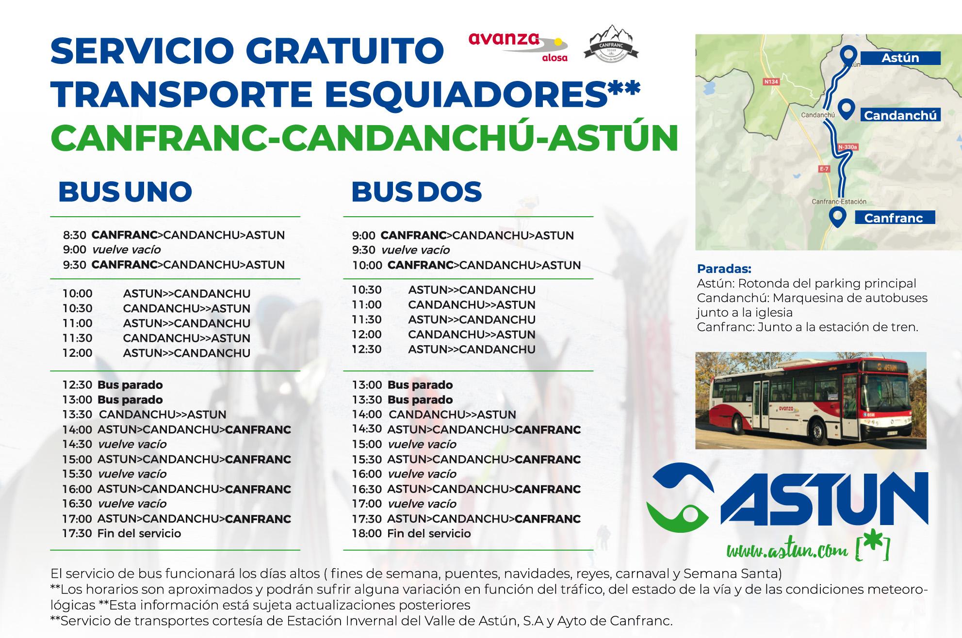 Servicio de autobuses gratuitos Canfranc-Candanchú-Astún durante fines de semana y periodos vacacionales; se adjunta cartel informativo.