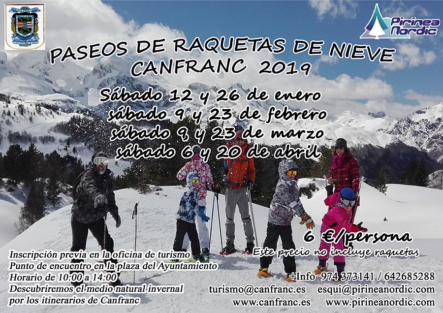Paseos de raquetas de nieve Canfranc 2019
