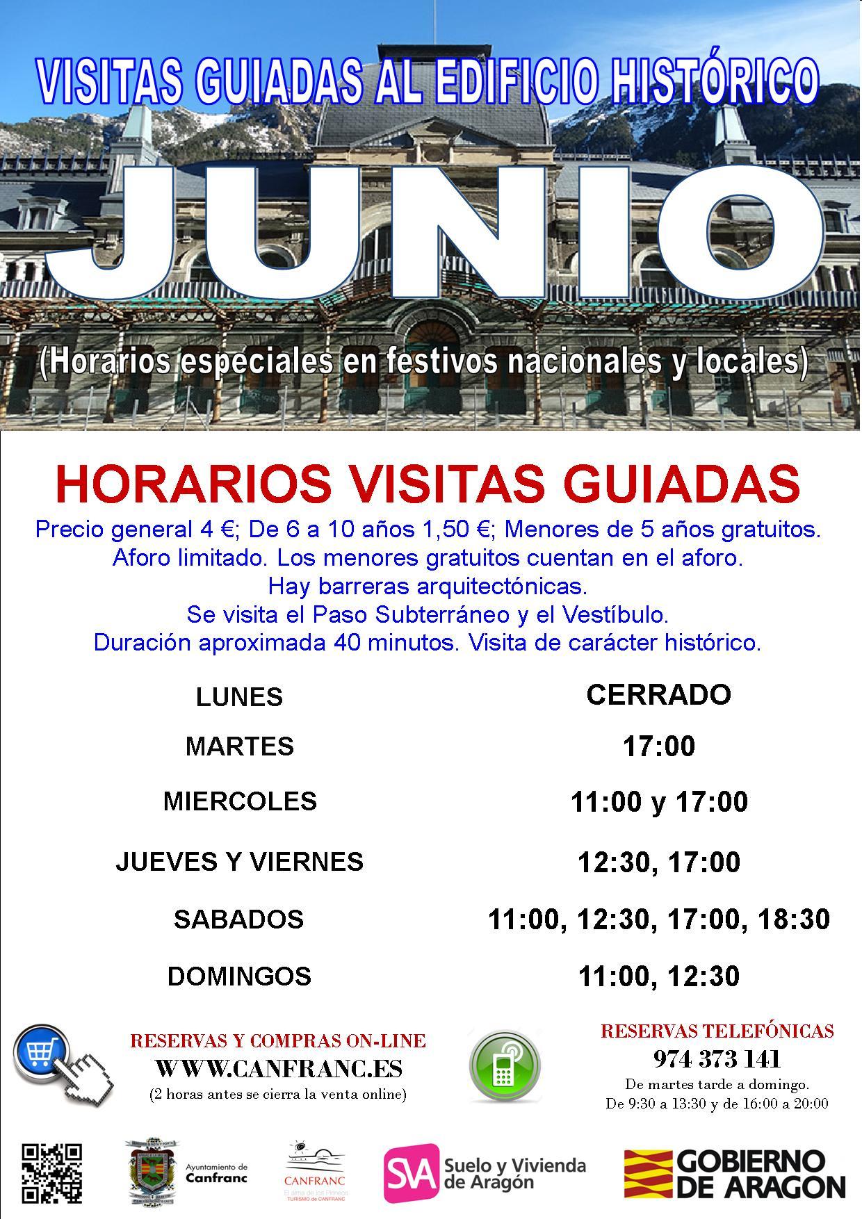 Horario Junio Visitas Estación Internacional de Canfranc