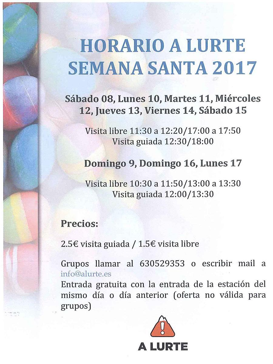 Horarios A LURTE Semana Santa 2017