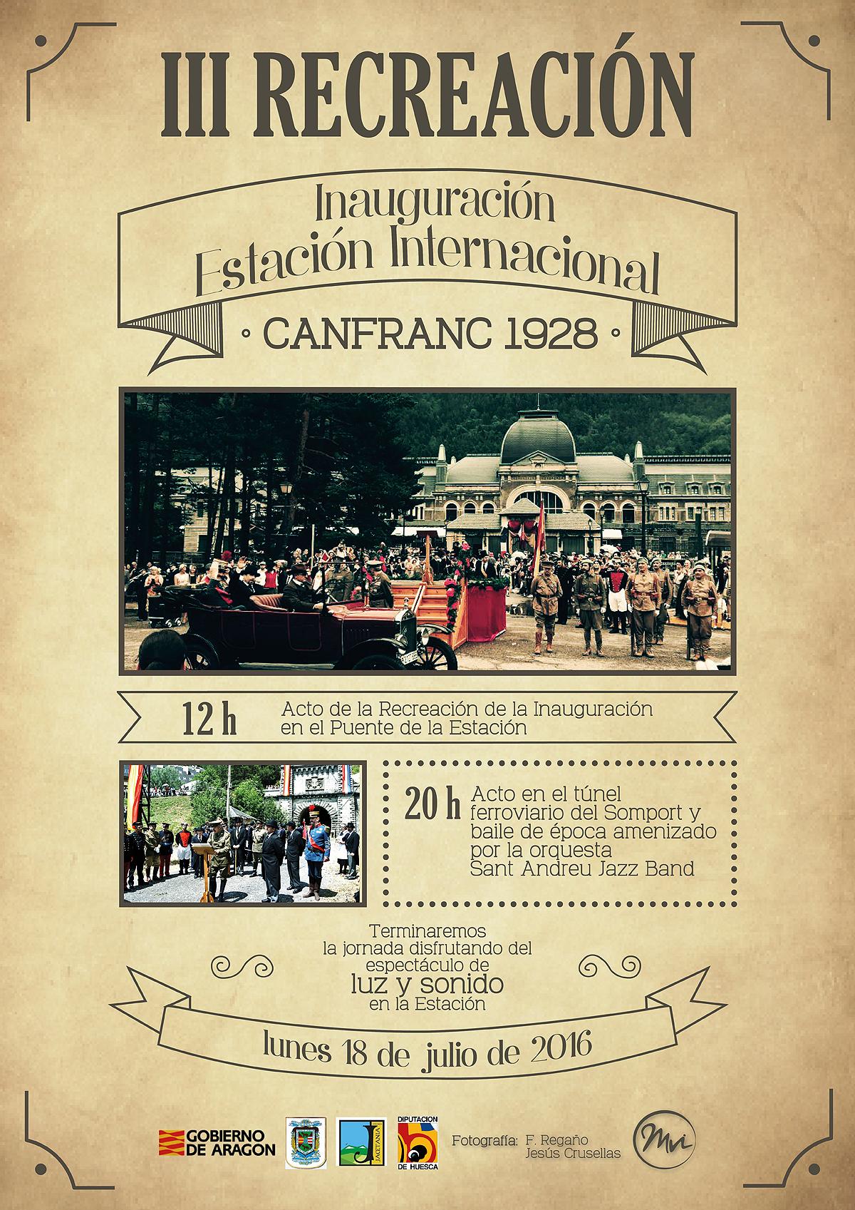 Cartel de la Recreación de la inauguración de la Estación internacional de Canfranc